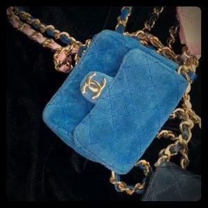 Vintage Chanel mini blue velvet purse